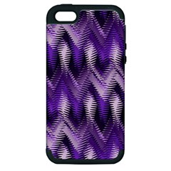 Purple Wavy Apple Iphone 5 Hardshell Case (pc+silicone) by KirstenStar