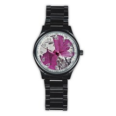 Vintage Style Flower Photo Stainless Steel Round Watch by dflcprints