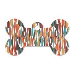 Colorful Geometric Abstract Dog Tag Bone (two Sides) by linceazul