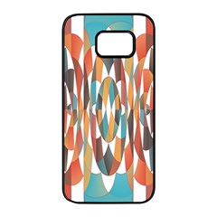 Colorful Geometric Abstract Samsung Galaxy S7 Edge Black Seamless Case by linceazul