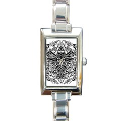 Tattoo Tribal Owl Rectangle Italian Charm Watch by Valentinaart