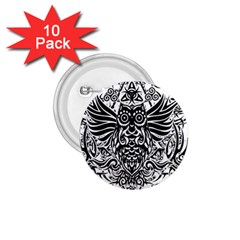 Tattoo Tribal Owl 1 75  Buttons (10 Pack) by Valentinaart
