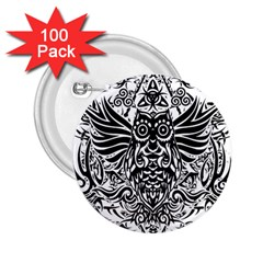 Tattoo Tribal Owl 2 25  Buttons (100 Pack)  by Valentinaart