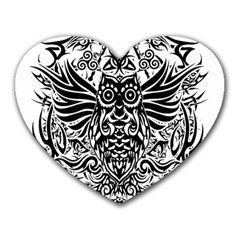 Tattoo Tribal Owl Heart Mousepads by Valentinaart