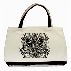Tattoo Tribal Owl Basic Tote Bag (two Sides) by Valentinaart
