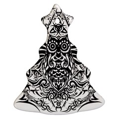 Tattoo Tribal Owl Christmas Tree Ornament (two Sides)