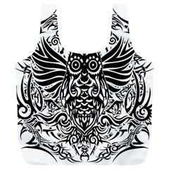 Tattoo Tribal Owl Full Print Recycle Bags (l)