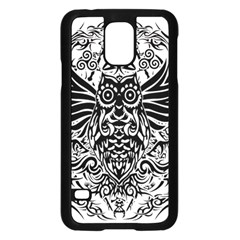 Tattoo Tribal Owl Samsung Galaxy S5 Case (black) by Valentinaart