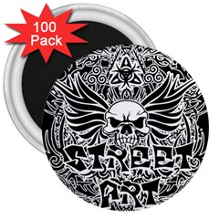 Tattoo Tribal Street Art 3  Magnets (100 Pack) by Valentinaart