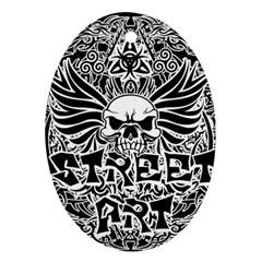 Tattoo Tribal Street Art Oval Ornament (two Sides) by Valentinaart