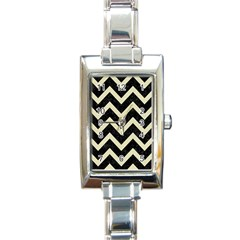 Chevron9 Black Marble & Beige Linen Rectangle Italian Charm Watch by trendistuff