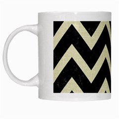 Chevron9 Black Marble & Beige Linen White Mugs by trendistuff