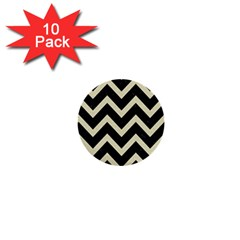 Chevron9 Black Marble & Beige Linen 1  Mini Buttons (10 Pack)  by trendistuff
