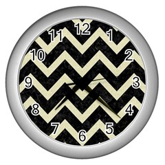 Chevron9 Black Marble & Beige Linen Wall Clocks (silver)  by trendistuff