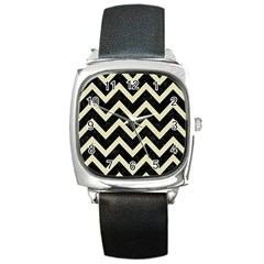 Chevron9 Black Marble & Beige Linen Square Metal Watch by trendistuff