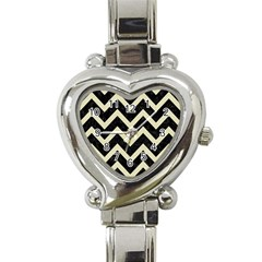 Chevron9 Black Marble & Beige Linen Heart Italian Charm Watch by trendistuff