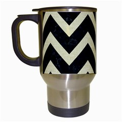 Chevron9 Black Marble & Beige Linen Travel Mugs (white) by trendistuff
