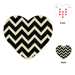 Chevron9 Black Marble & Beige Linen Playing Cards (heart)  by trendistuff