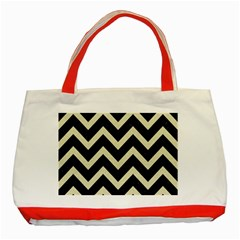 Chevron9 Black Marble & Beige Linen Classic Tote Bag (red) by trendistuff