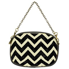 Chevron9 Black Marble & Beige Linen Chain Purses (two Sides)  by trendistuff