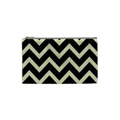 Chevron9 Black Marble & Beige Linen Cosmetic Bag (small)  by trendistuff