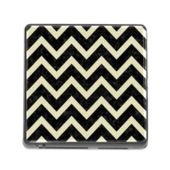 Chevron9 Black Marble & Beige Linen Memory Card Reader (square) by trendistuff