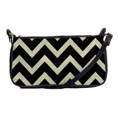 Chevron9 Black Marble & Beige Linen Shoulder Clutch Bags by trendistuff
