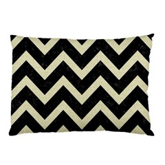 Chevron9 Black Marble & Beige Linen Pillow Case (two Sides) by trendistuff