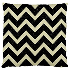 Chevron9 Black Marble & Beige Linen Large Cushion Case (one Side) by trendistuff