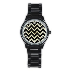 Chevron9 Black Marble & Beige Linen Stainless Steel Round Watch