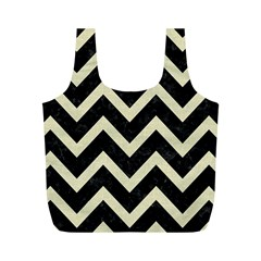 Chevron9 Black Marble & Beige Linen Full Print Recycle Bags (m)  by trendistuff