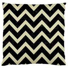 Chevron9 Black Marble & Beige Linen Large Flano Cushion Case (two Sides) by trendistuff