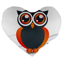 Owl Logo Large 19  Premium Heart Shape Cushions by BangZart
