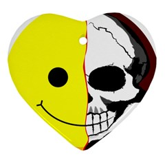 Skull Behind Your Smile Heart Ornament (two Sides) by BangZart