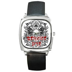 Tattoo Tribal Street Art Square Metal Watch