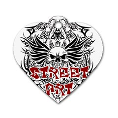 Tattoo Tribal Street Art Dog Tag Heart (two Sides) by Valentinaart