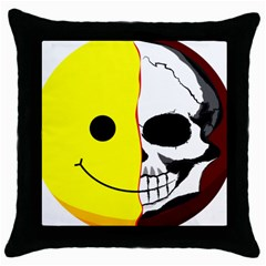 Skull Behind Your Smile Throw Pillow Case (black) by BangZart