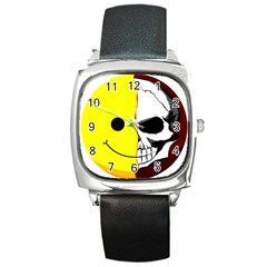 Skull Behind Your Smile Square Metal Watch
