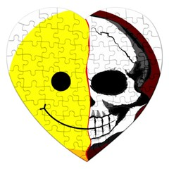 Skull Behind Your Smile Jigsaw Puzzle (heart) by BangZart