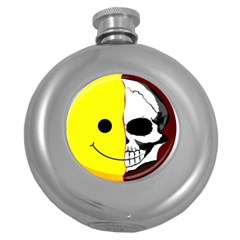 Skull Behind Your Smile Round Hip Flask (5 Oz) by BangZart