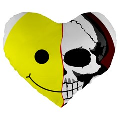 Skull Behind Your Smile Large 19  Premium Heart Shape Cushions by BangZart