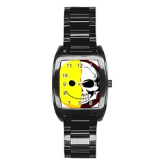 Skull Behind Your Smile Stainless Steel Barrel Watch by BangZart