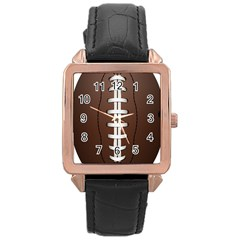 Football Ball Rose Gold Leather Watch