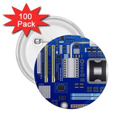 Classic Blue Computer Mainboard 2 25  Buttons (100 Pack)  by BangZart