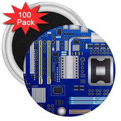 Classic Blue Computer Mainboard 3  Magnets (100 Pack) by BangZart