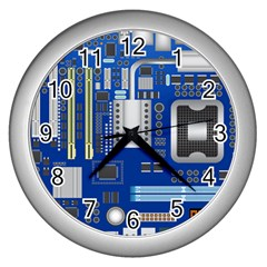 Classic Blue Computer Mainboard Wall Clocks (silver)  by BangZart