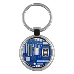 Classic Blue Computer Mainboard Key Chains (round)  by BangZart