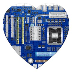 Classic Blue Computer Mainboard Jigsaw Puzzle (heart) by BangZart