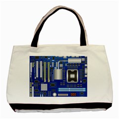 Classic Blue Computer Mainboard Basic Tote Bag by BangZart