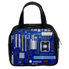 Classic Blue Computer Mainboard Classic Handbags (2 Sides) by BangZart